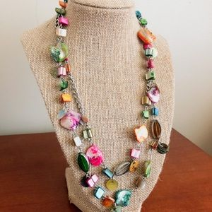 Double Layer Colorful Necklace 🧡💙💜💖
